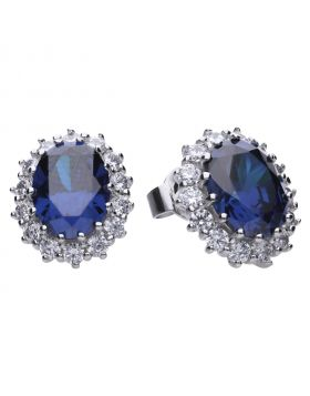 Large oval 4.84 ct claw set stud earrings silver with blue Diamonfire cubic zirconia