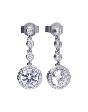 Round earrings silver with white Diamonfire zirconia and PAVÉ setting