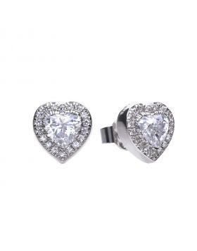Heart pave set stud earrings with Diamonfire cubic zirconia