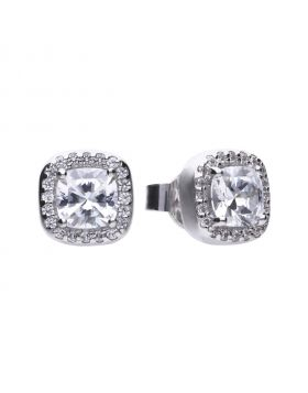 Square solitaire and pave set stud earrings with Diamonfire cubic zirconia