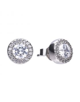 Round pave set stud earrings with Diamonfire cubic zirconia