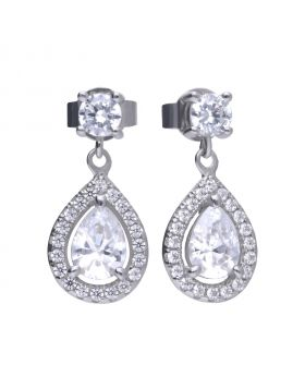 Earrings silver with white Diamonfire zirconia in teardrop shape and PAVÉ setting