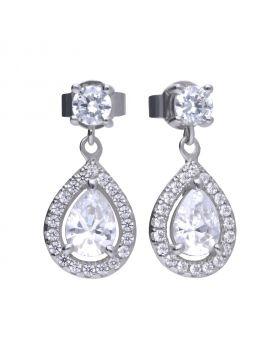 Earrings silver with white Diamonfire zirconia in teardrop shape and PAVÉ setting