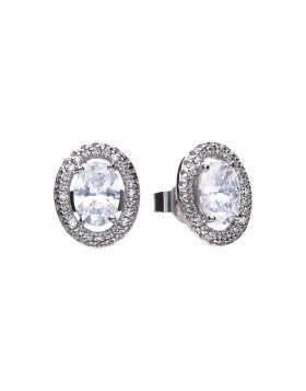 Oval 1.85 ct pave stud earrings with Diamonfire cubic zirconia