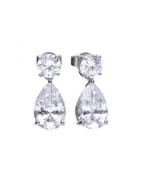 Teardrop earrings silver with white Diamonfire zirconia and prong setting. Total ca 5.83 ct
