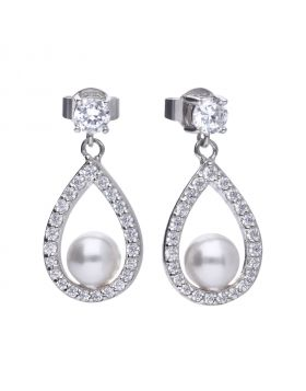 1.1 ct teardrop shape drop earrings with white shell pearls and Diamonfire cubic zirconia