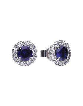 Round 1.39 ct pave stud earrings with blue Diamonfire cubic zirconia