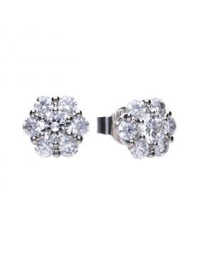 Floral shape stud earrings with Diamonfire cubic zirconia