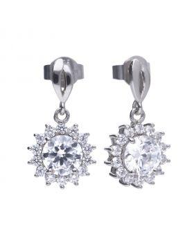 Sun shape 3.0 ct drop earrings with Diamonfire cubic zirconia