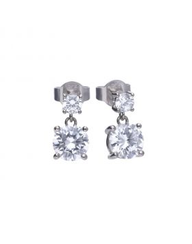 Classic 2.3 ct claw set drop earrings with Diamonfire cubic Zirconia