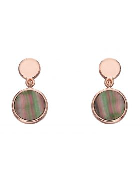 Rose gold plated drop earrings with mother of pearl