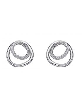 Spiral design earrings with CZ detail