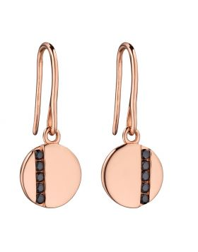 Rose gold plated disc drop earrings with tiny black CZ baguettes
