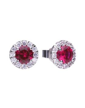 Round pave stud earrings with red Diamonfire cubic zirconia