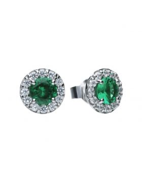 Round pave stud earrings with green Diamonfire cubic zirconia