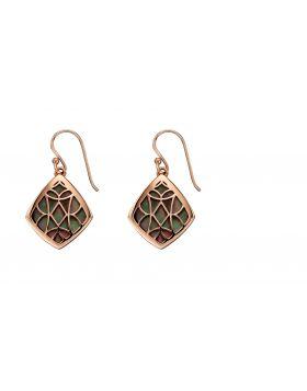 Black Mother of Pearl Rose Gold Earrings