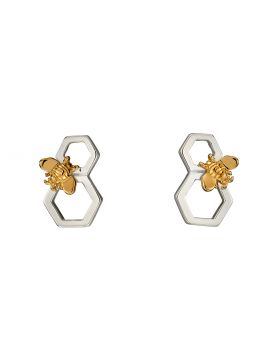 Bee and Honeycomb Mix Plate Earrings