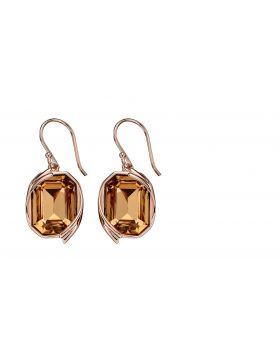 Ribbon Detail Drop Earrings in Rose Gold and Light Colorado Topaz Crystal E5690Y