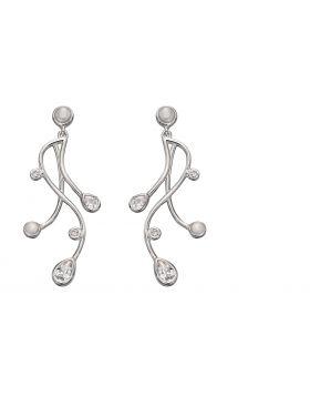 Cubic Zirconia and Pearl Drop Earrings
