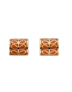 Yellow Gold Plated And Orange Enamel Stem Cylinder Stud Earrings