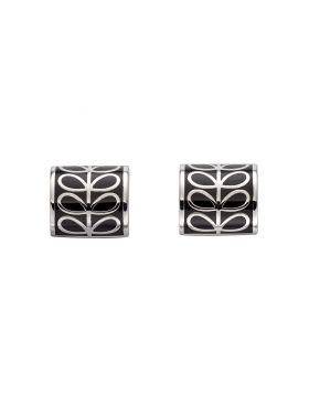 Silver Plated And Black Enamel Stem Cylinder Stud Earrings