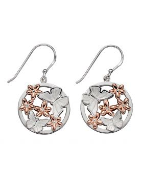 Butterfly and Rose Gold Flower Earrings