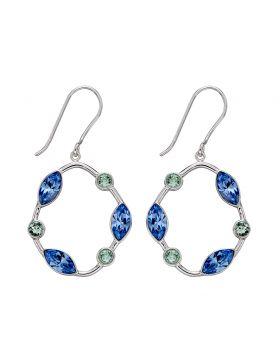 Organic Shape Blue and Green Crystal Drop Earrings E5721