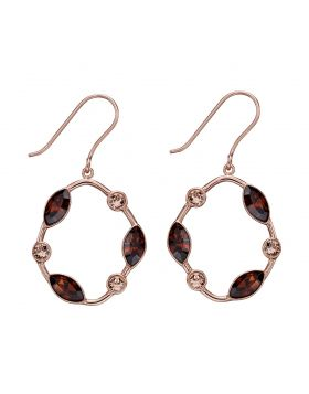 Rose Gold Plated Smoked Topaz Crystal Earrings