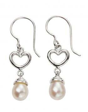 Heart and Pearl Drop Earrings