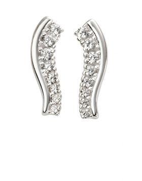 Cubic Zirconia Wavy Bar Earrings