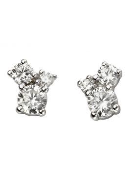 Triple Stone Cubic Zirconia Earrings