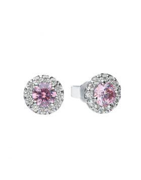 Dusky Pink Zirconia Pave Stud Earrings (E5775)