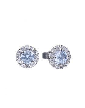 Sky Blue Zirconia Pave Stud Earrings (E5776)