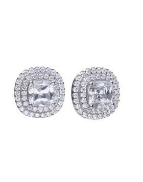 Double Halo Zirconia Earrings (E5784)
