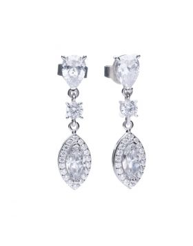 Marquise and Pave Zirconia Drop Earrings (E5785)