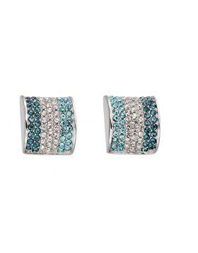 Blue Stone Barrel Stud Earrings (E5790)