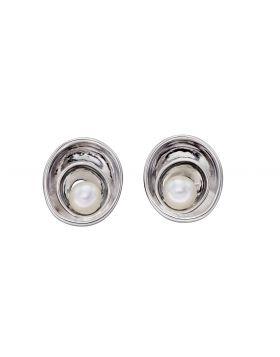 Fresh Water Pearl Swirl Stud Earrings (E5797W)
