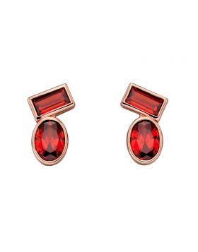 Abstract Red Stone Stud Earrings (E5805R)