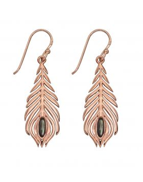 Rose Gold Peacock Feather Earrings (E5809B)