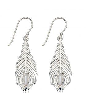 Silver Peacock Feather Earrings (E5811W)