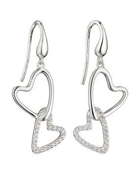 Cubic Zirconia Double Heart Earrings (E5816C)