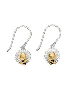 Bee and Flower Gold Plate Earrings (E5818)