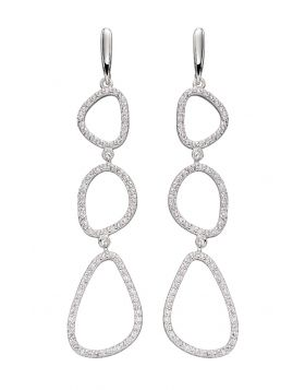 Cubic Zirconia Pebble Outline Earrings (E5820C)