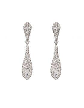 Cubic Zirconia Organic Drop Earrings (E5821C)