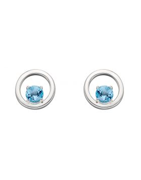 Round Blue Topaz Earrings (E5827T)