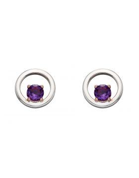 Round Purple Amethyst Earrings (E5828M)