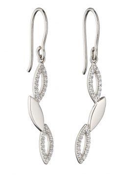 Navette Zigzag Silver CZ Earrings (E5833C)
