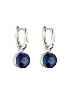 Rose Cut Dark Blue Earrings (E5840L)
