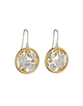Cherry Blossom Earrings With Yellow Gold Plating  (E5842)