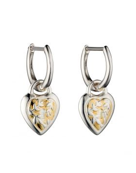 Heart Hoop Earrings With Yellow Gold Plating (E5845)